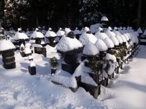 雪をかぶった墓石