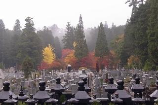 高野山の紅葉・仏舎利宝塔から見た英霊殿方面